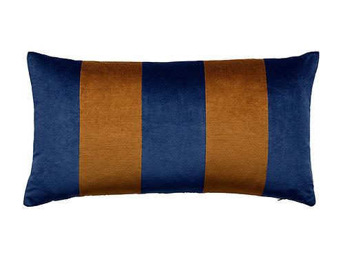 Stripe Velvet 40x80 denim/cognac