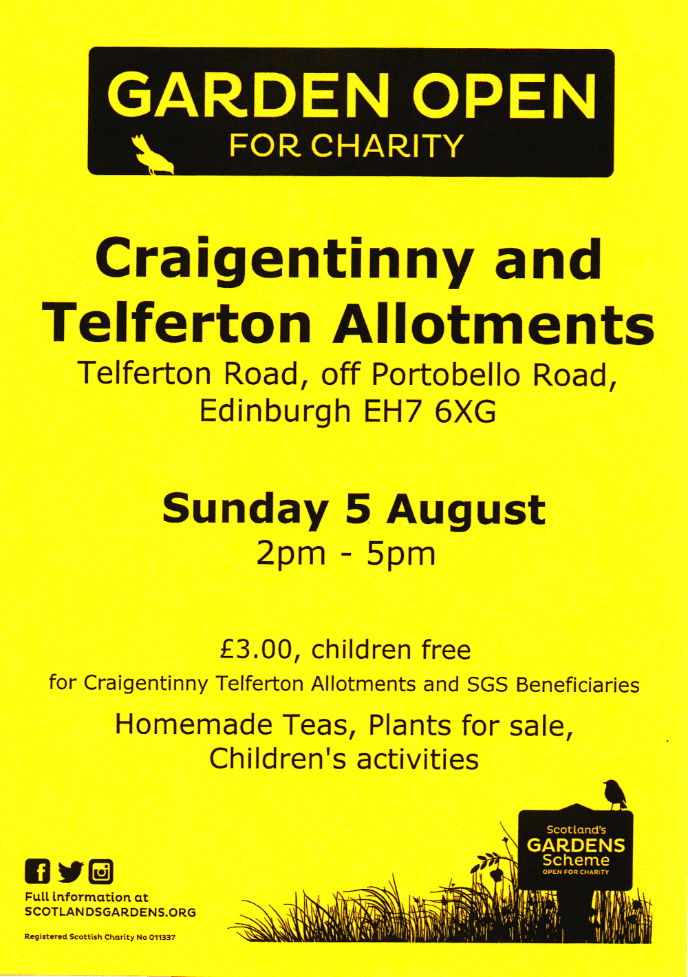 Allotment Open Day poster