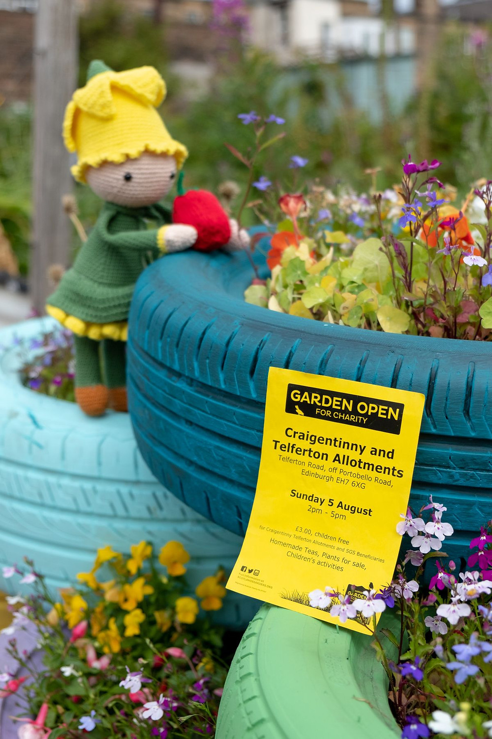 Open Day flyer and our new allotment mascot