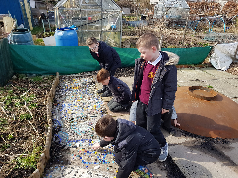 Craigentinny pupils add to the mosaic in the Community Plot