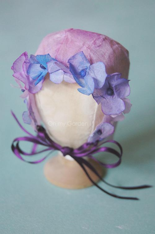 Bonnet hortensia papier