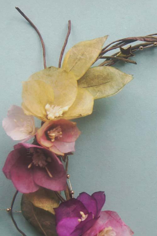 couronne rose de noel rose etoile double
