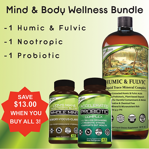 Mind & Body Wellness Bundle: Humic Fulvic, Nootropic, Probiotic