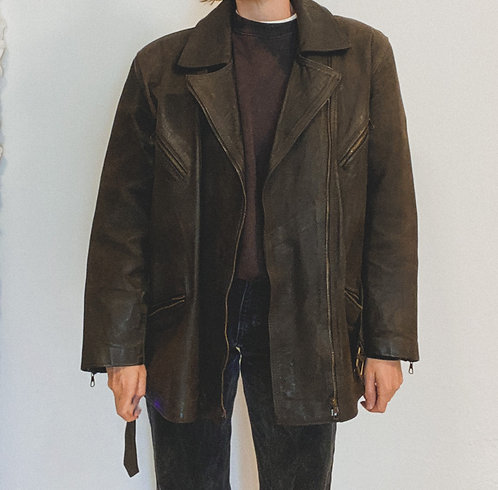 dunkelbraun/schwarze Lederjacke