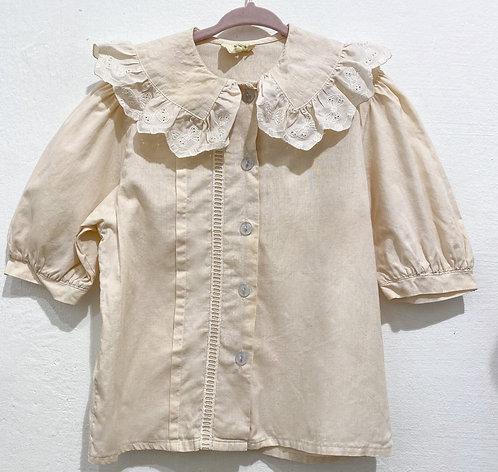 Vintage Bluse handgefärbt Coffee - Größe 128