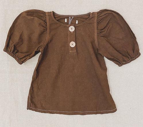 Puffärmel Bluse handgefärbt - Dark Brown
