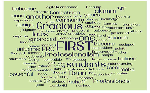 word cloud for Gracious Professionalism.