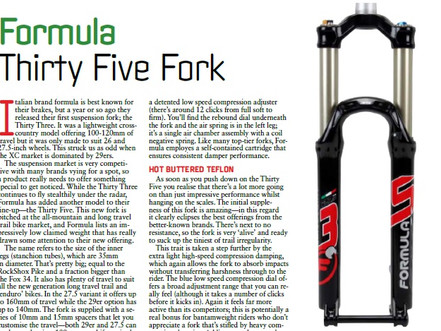 Formula 35 Enduro fork tested by Mountainbiking Australia