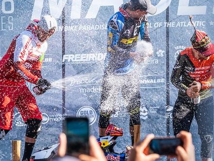 Formula / Miranda Team rider José Borges on the podium at Madeira EWS