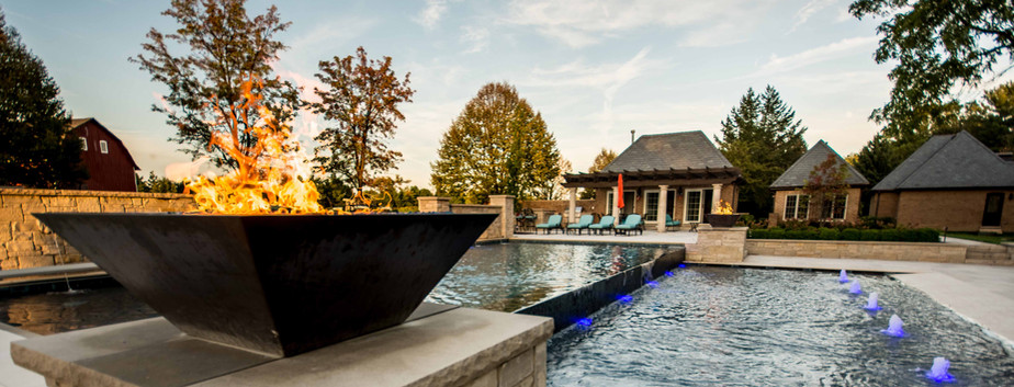 Swimming Pool, Pool House & Fire Bowl