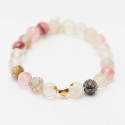 Cherry Quartz with a a Gold Vermeil Heart