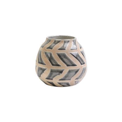 Garden Geo Gray Round Vase