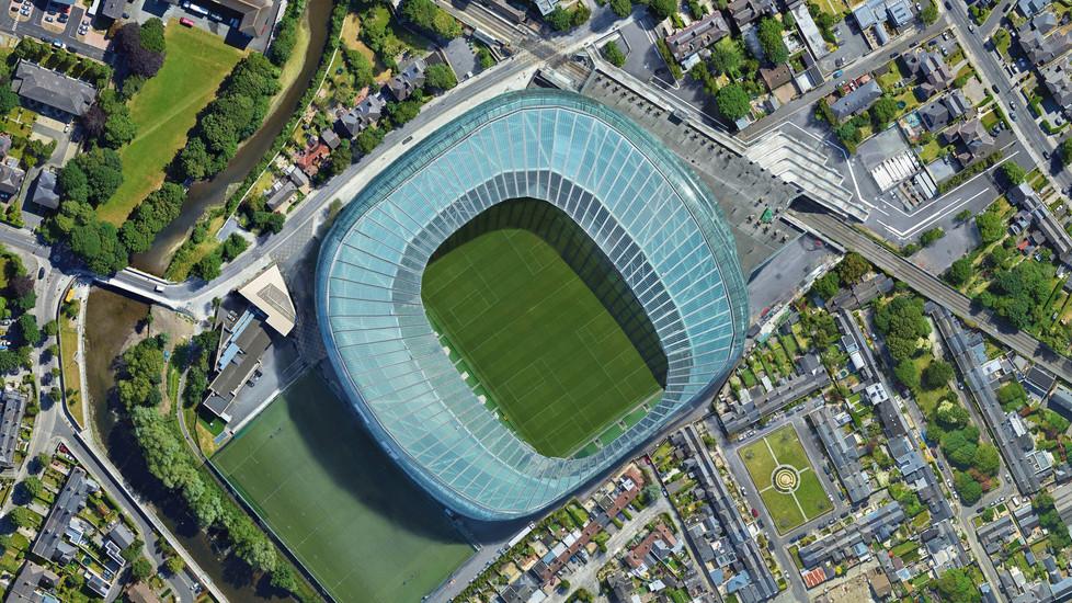 Dublin Aviva, looking down aerial view f