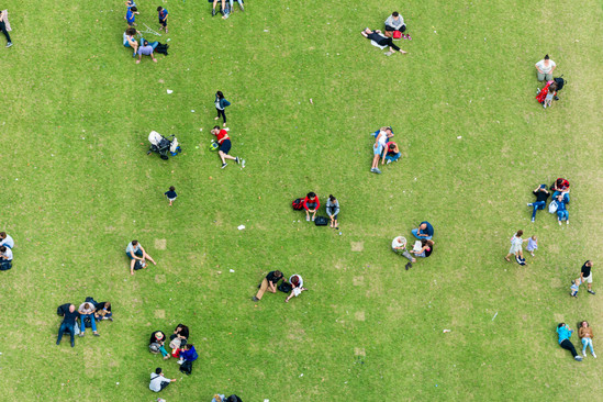 Ninety degrees view of people relaxing o
