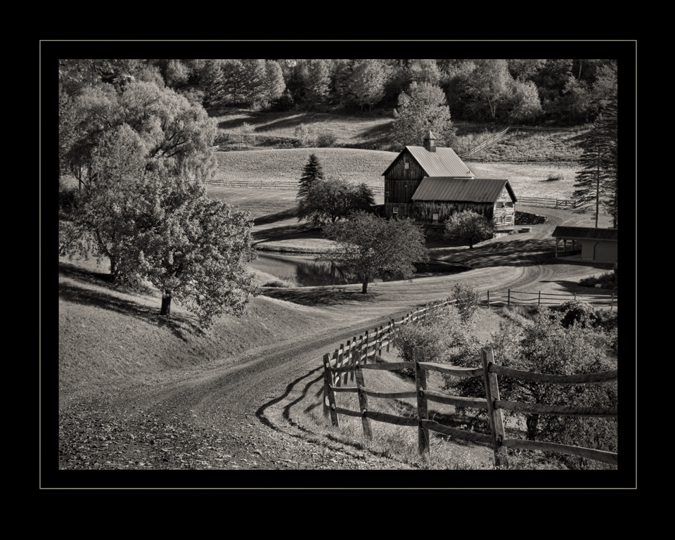 Sunny Vermont in Black and White