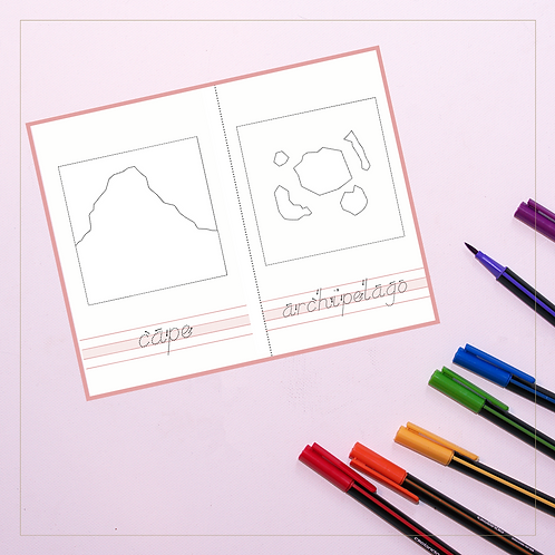 Land and Water Forms Coloring Pages - Montessori - Homeschooling - Coloring Book