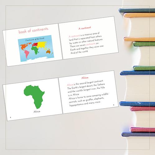 Book of Continents - Montessori - Homeschooling - Book