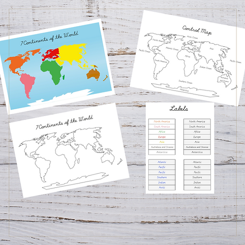 Continents Map, Control Map & Labels - Montessori - Homeschooling - Bundle