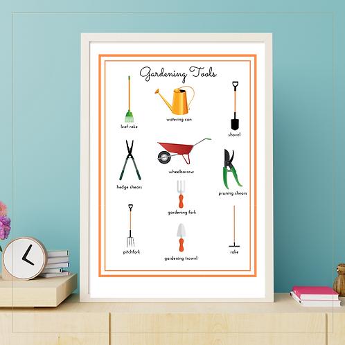 Gardening Tools A4 Poster - Montessori - Homeschooling - Poster