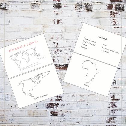 Coloring Book of Continents - Montessori - Homeschooling - Book