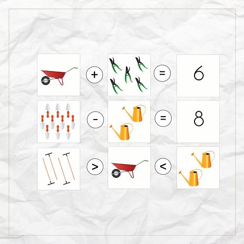 0 - 20 Math Pack (Gardening Tools) - Montessori - Homeschooling - Bundle