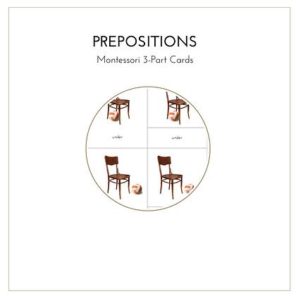 Prepositions - Montessori 3-Part Cards