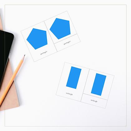 Geometric Shapes 3-Part Cards - Montessori - Homeschooling - 3-Part Cards