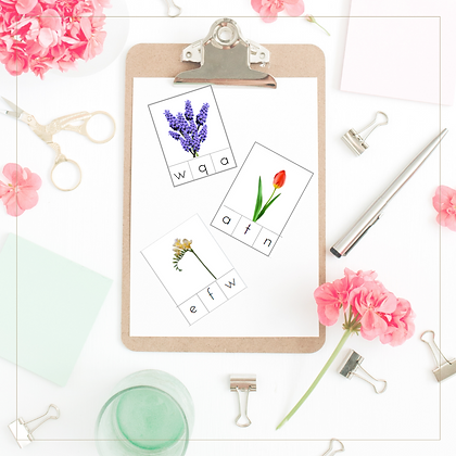 Spring Flowers Initial Sounds Cards - Montessori - Homeschooling - Sounds Cards