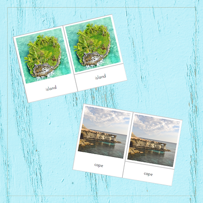 Water and Land Forms In Real Life - Montessori - Homeschooling - 3-part Cards