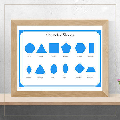Geometric Shapes Poster - Montessori - Homeschooling - Poster
