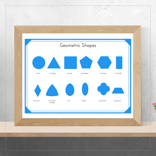 Geometric Shapes Poster - Montessori - Homeschooling - Poster
