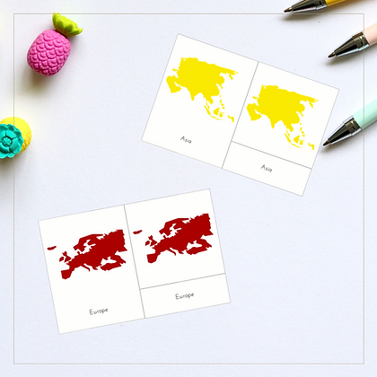 Continents 3-Part Cards - Montessori - Homeschooling - 3-Part Cards