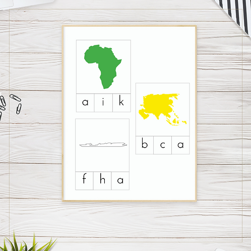 Continents Initial Sounds Cards - Montessori - Homeschooling - Sounds Cards
