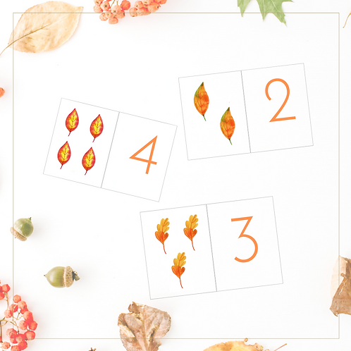 Fall Leaves Counting Cards - Digital PDF