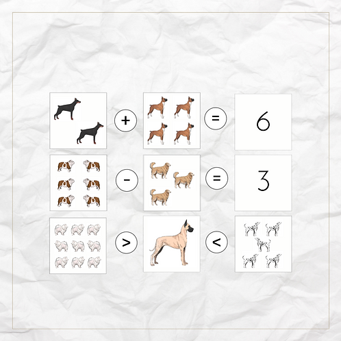 Counting With Dogs - Montessori - Homeschooling - Cards