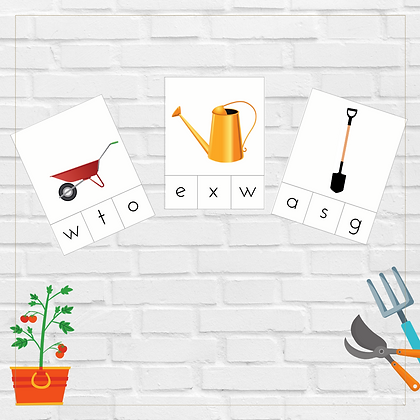 Gardening Tools Initial Sound Cards - Montessori - Homeschooling - Sounds Cards