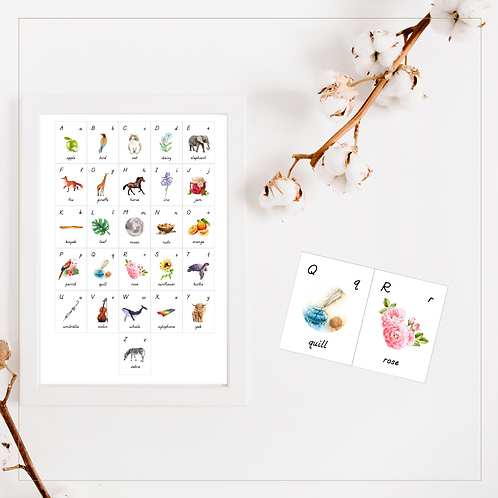 Alphabet Cards and Poster in Print - Montessori - Homeschooling - Card & Poster