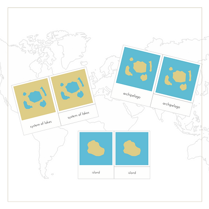 Land and Water Forms 3-Part Cards - Montessori - Homeschooling - 3-Part Cards