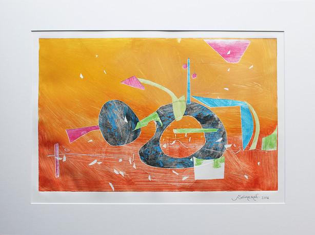 Obra abstracta en papel Nº 16