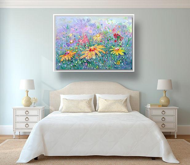 Lienzo impreso de flores. Arte para interiorismo y decoración.