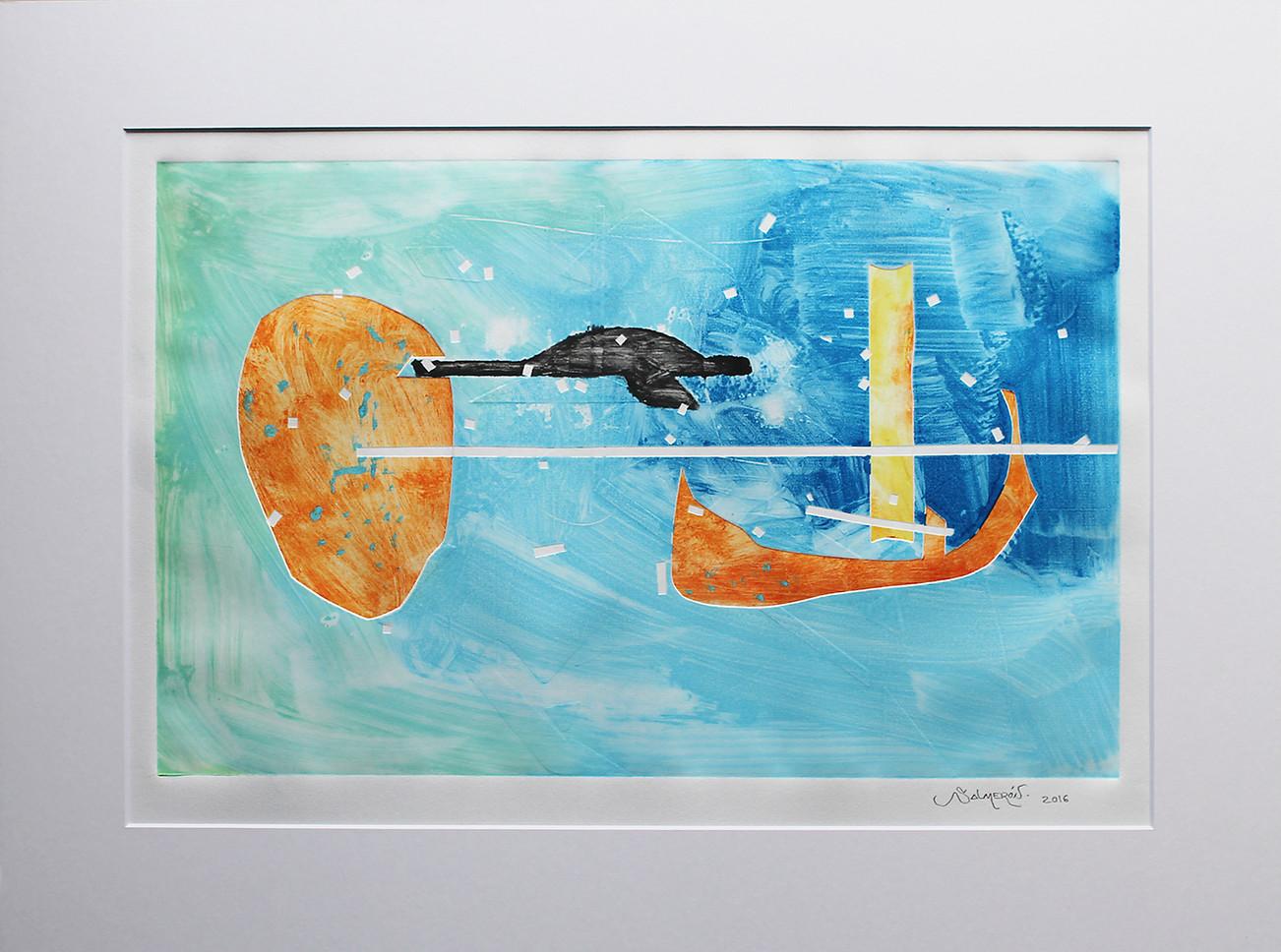 Obra abstracta en papel Nº 19