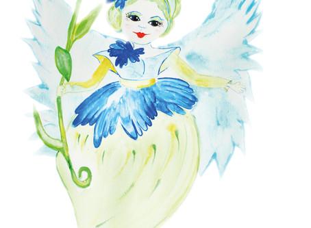 Die kleine Kornblumenelfe  wünscht euch den allerschönsten Tag ...