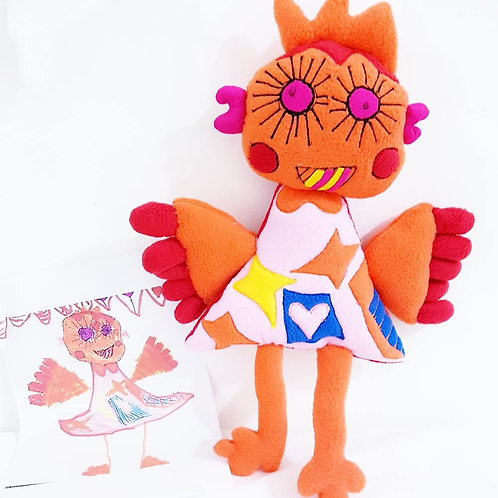 Turn your little child drawings into a real doll.
