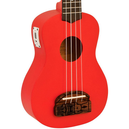 KOHALA TIKI SOPRANA UKULELE WITH TUNER (RED)
