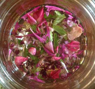 Moon tea of Rose, Basil, Mint