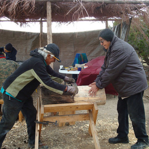 Traditional Pueblo Drum making workshop at Hamaatsa under the willow arbor. Larry Littlebird and Stan Lucero.