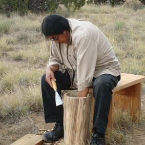 Stanley Lucero making a Pueblo drum at Hamaatsa Drum Making workshop. (Laguna Pueblo). We lovingly remember this gentle and wise elder.