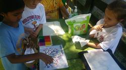 Kids creating fingerprint tree!