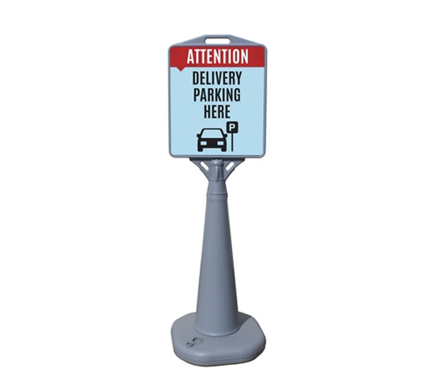 Delivery Parking Here - Outdoor Cone Poster Sign (Water Filled Base) with Prints