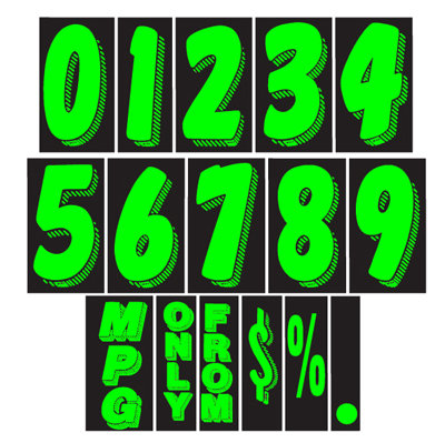 7 1/2 inch Chartreuse Adhesive Number {EZ109}